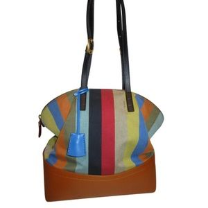 Fendi Large Multicolor 2Bag Canvas Leather Tote